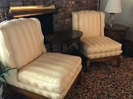 Beautiful pair of high end upholstered chairs in excellent condition