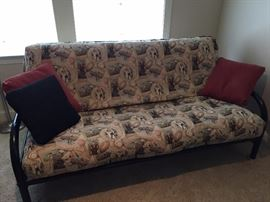 Premium Futon, Comfortable and Attractive with Cover. Vintage Baseball Fabric.