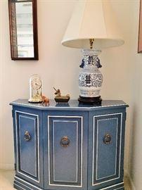 Distinctive blue cabinet.