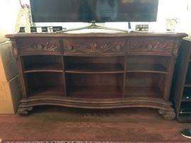 TV console ornate wood