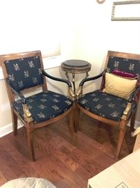 Century Furniture Vintage Chairs and wrought iron and vintage brass side table with travertine top.