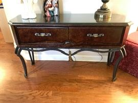 Walnut and iron console from Kessler bedroom set
