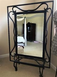 iron mirror from Kessler bedroom set with custom made iron stand