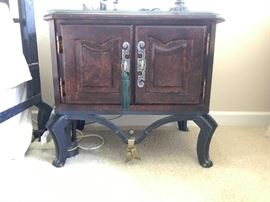Walnut and iron side table from Kessler bedroom set
