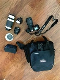 NIKON N70 film camera with 3 lenses and extra accessories in a Tamarac camera bag