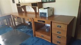 Wood four drawer chest - $30   Electrical Table - $30  Large wood desk - $60