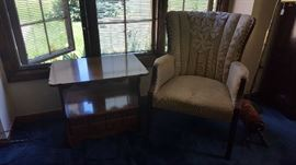Wing back chair - $25   small table $20