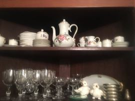 Vintage porcelains and Baccarat crystal stemware