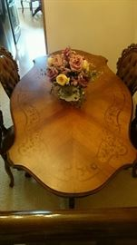 French Provincial Dining Room Chairs (4) accompany a Stunning French Provincial Inlay Dining Room Table with carved Legs & Base A MUST SEE TO BELIEVE