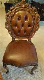 Walnut carved chairs with leather in flawless condition