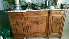 Antique Walnut Sideboard with White Italian Marble Top flawless condition