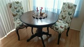 Rooster & Hen covered chairs (2) wood table