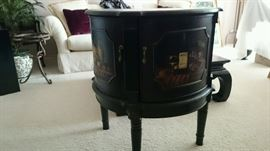 Antique 1/2 round hand painted wall chest