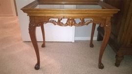 Antique carved table w/lift off top for serving