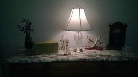 Crystal Lamp with silk shade
