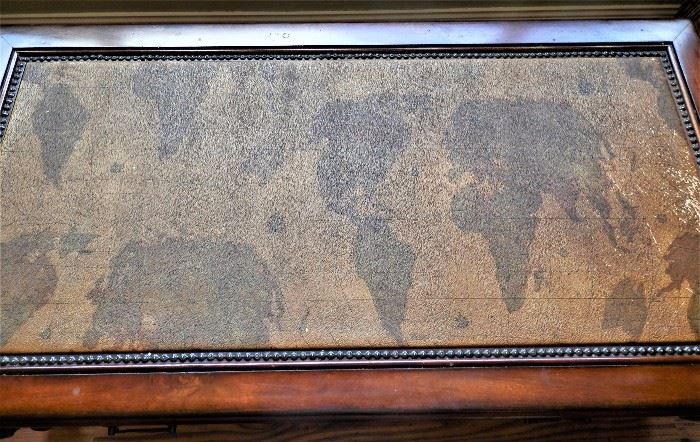 Leather Map Top Coffee Table w/2 Matching End Tables