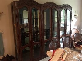 Beautiful set of 3 lighted curio cabinets that fit together. Stunning!