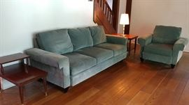 Very Nice American Signature Sofa & Chair in a mossy green velvet, in excellent condition.