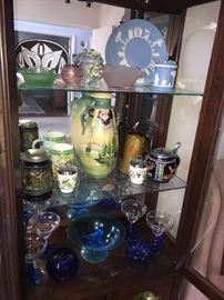 BEAUTIFUL DEPRESSION & VASELINE GLASS, WEDGWOOD JASPERWARE , ANTIQUE VASE , GERMAN STEINS AND MORE