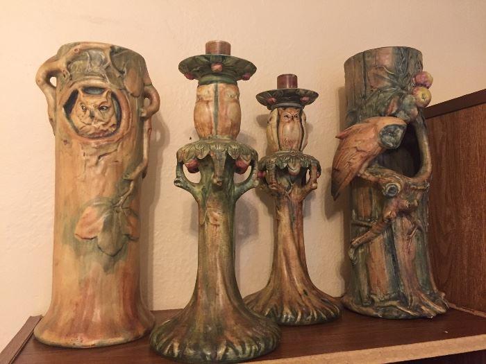 Weller Woodcraft Owl vases an candlesticks.