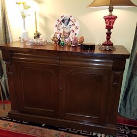 Cabinet with two drawers over two doors