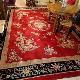 Red Chinese room-size rug, approximately 10' x 14'