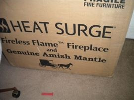 2 NEW STILL IN BOXES - Handmade Amish Oak Fireplace Heat Surge Miracle Heater Flameless. (base with drawer and mirror are accessories that can be purchased from manufacture)