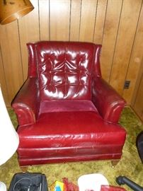 vintage leather chair with tack trim