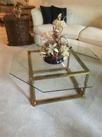 Brass squared base with octagon glass top coffee table Buy IT NOW $80 OBO