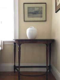 Vintage Demi Lune Table, Tiffany Lidded Apple Jar