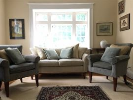 Crate and Barrel Sofa, Stickley Arm Chairs