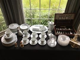 Limoges, Silver Plate Flatware, Hawkes Crystal