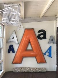 Collection of A's. Large orange A is from Grant Five and Dime a local business of the past. It was electrified and works!