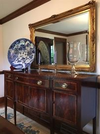 Flame Mahogany Sideboard, Ornate Carved Gilt Frame Mirror, Asian Charger with Dragon