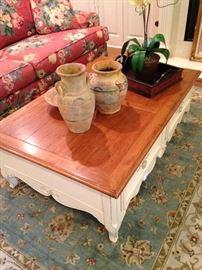 Ethan Allen coffee table & decor