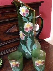 Antique pitcher & glasses