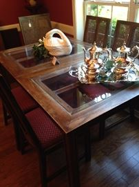 Dining table & 6 chairs (glass top inserts)