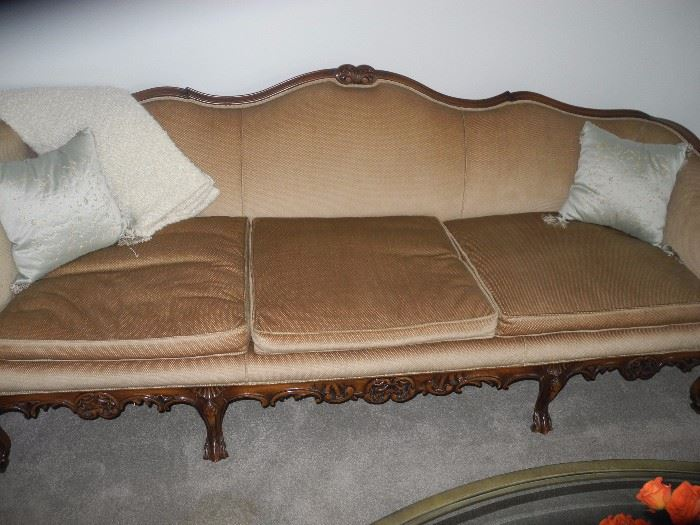 Antique (150 yrs old) sofa with beautiful carved wood.