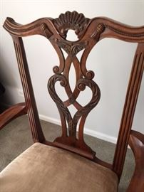 Close up of dining room chairs