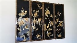 Lacquer 4 panel wall screen with shell applique