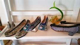 Chinese embroidered shoes, including Manchu Embroidered Platform Shoes