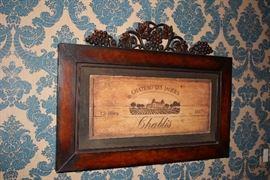 """Decorative Wood Plaque """"Chateau Les Jaques"""" Chablis"""