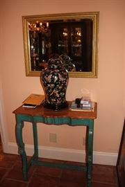 Table, Decorative Covered Urn and Gold Framed Mirror