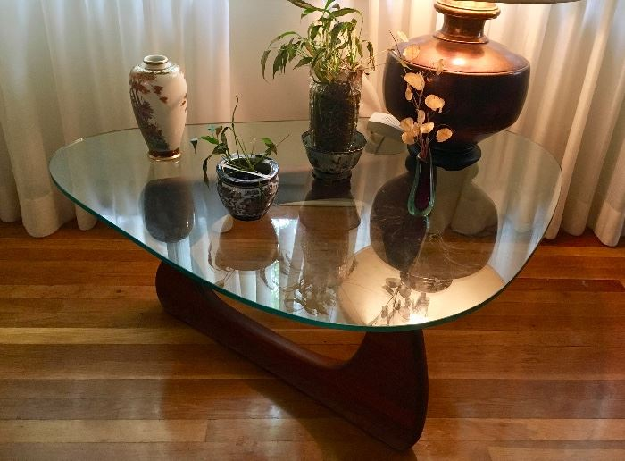 "Noguchi Herman Miller coffee table c.1950's EARLY VERSION W/ 3/4"" GLASS & ALUMINUM PIN"