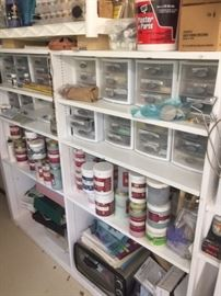 Pottery Glaze, hand tools cabinets, shelving, Plaster of paris, crafting supplies