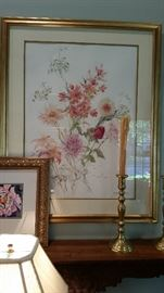 Lovely matted and framed painting by Beth Eidelberg.