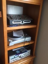 Professional sound equipment and Custom made entertainment center, Mixer, turntable, power supply, and more