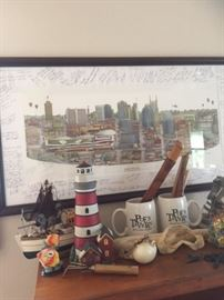 Custom Nashville Skyline with local bar customers signatures, and various Nautical theme decor, Knives, Mugs, Boat Figurines