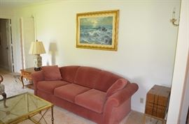 Lovely Sofa, Gold Framed Painting, Cabriole leg Table and Oriental Table Lamp