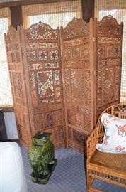Another view of this Carved Oriental Folding Screen